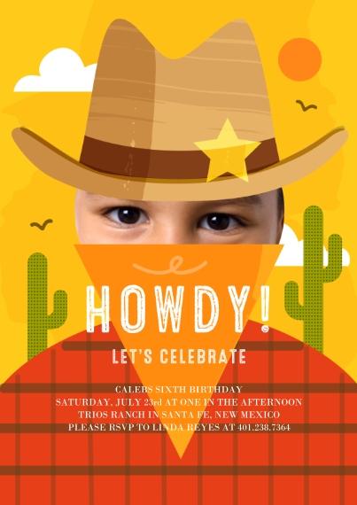 Kids Birthday Party Invites 5x7 Cards, Premium Cardstock 120lb with Elegant Corners, Card & Stationery -Howdy Celebration Invite