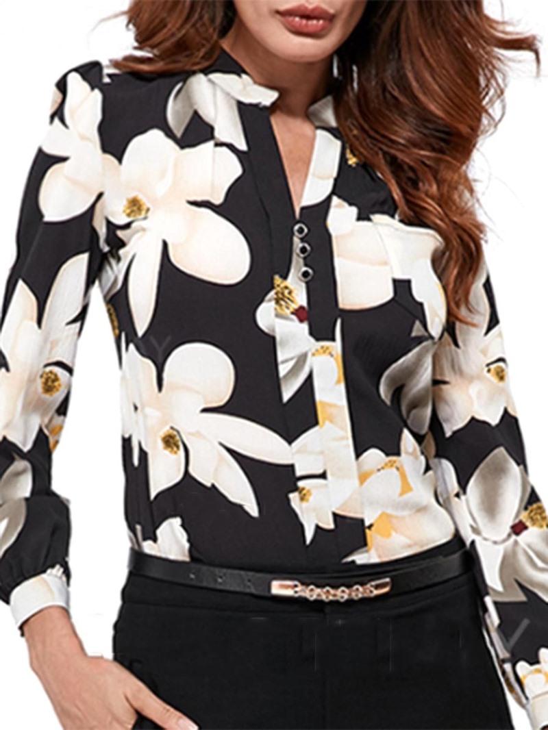 Ericdress Floral Print Notch-V Long Sleeve Blouse