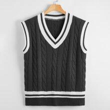 Chaleco jersey tejido de cable de color combinado
