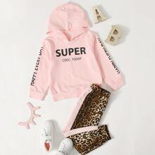 Hoodie mit Buchstaben Muster & Jogginghose mit Leopard Muster