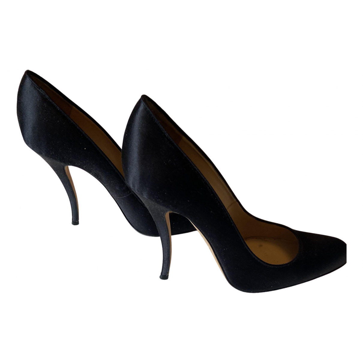 Manolo Blahnik N Black Cloth Heels for Women 37.5 EU