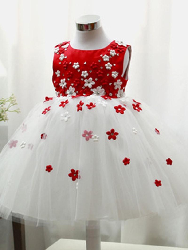 Ericdress Floral Appliques Girls Tutu Dress