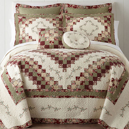 Home Expressions Cassandra Pieced Bedspread, One Size , Red
