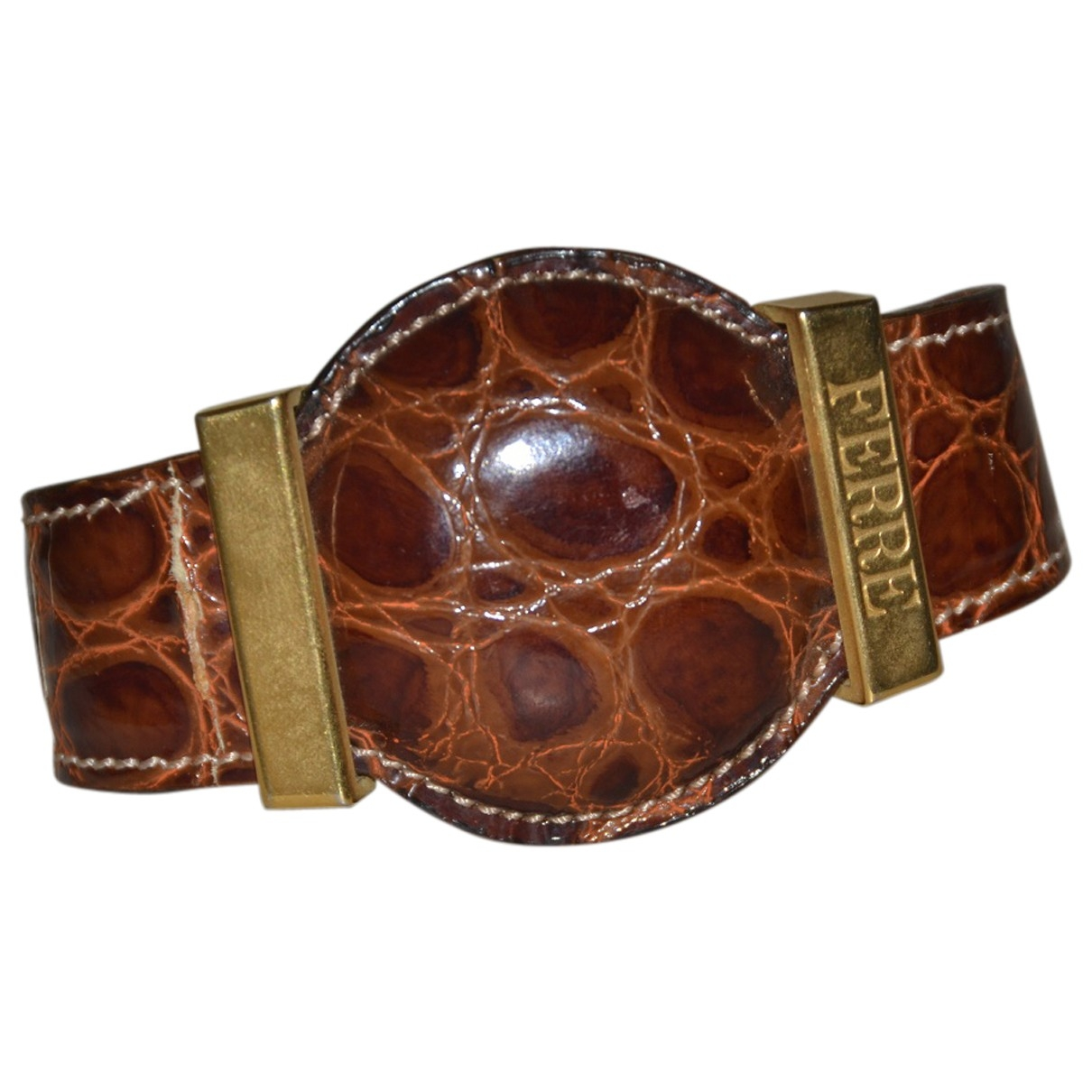 Gianfranco Ferre \N Armband in  Braun Leder