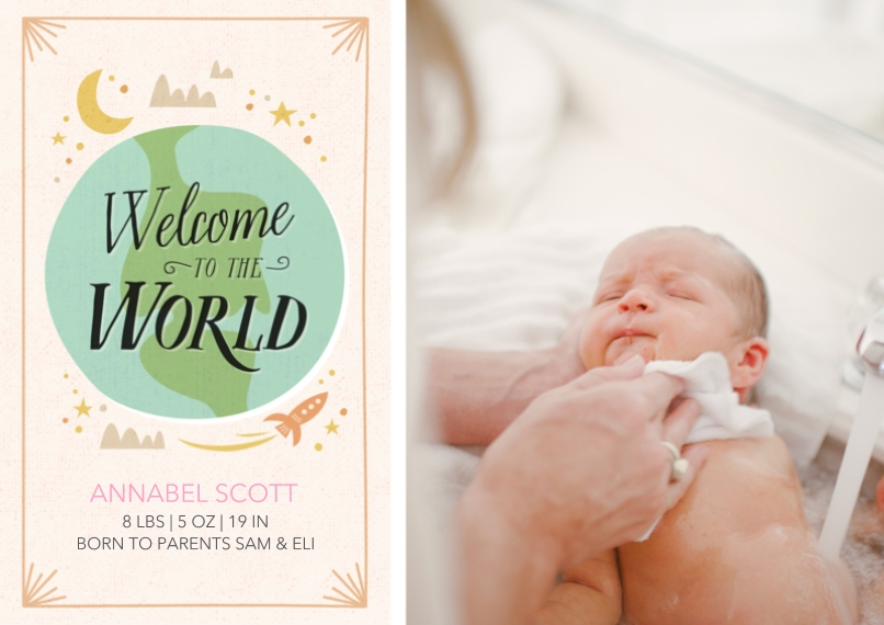 Newborn 5x7 Cards, Standard Cardstock 85lb, Card & Stationery -Welcome to the World Ivory