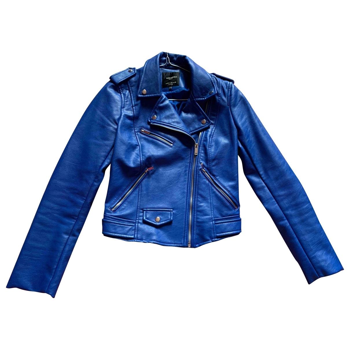 Zara \N Lederjacke in  Blau Polyester