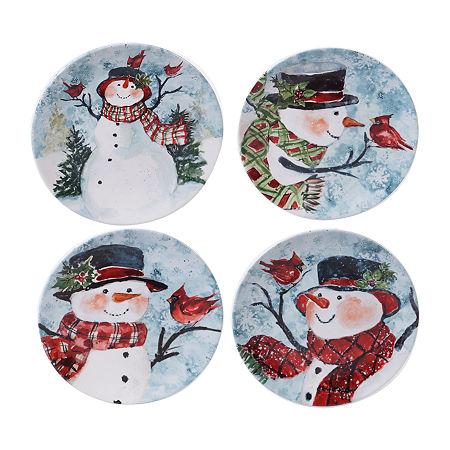 Certified International Watercolor Snowman 4-pc. Dessert Plate, One Size , Multiple Colors
