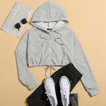 Patch Pocket Drawstring Button Front Hoodie
