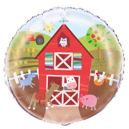 Farm Party Round Foil Balloon 18