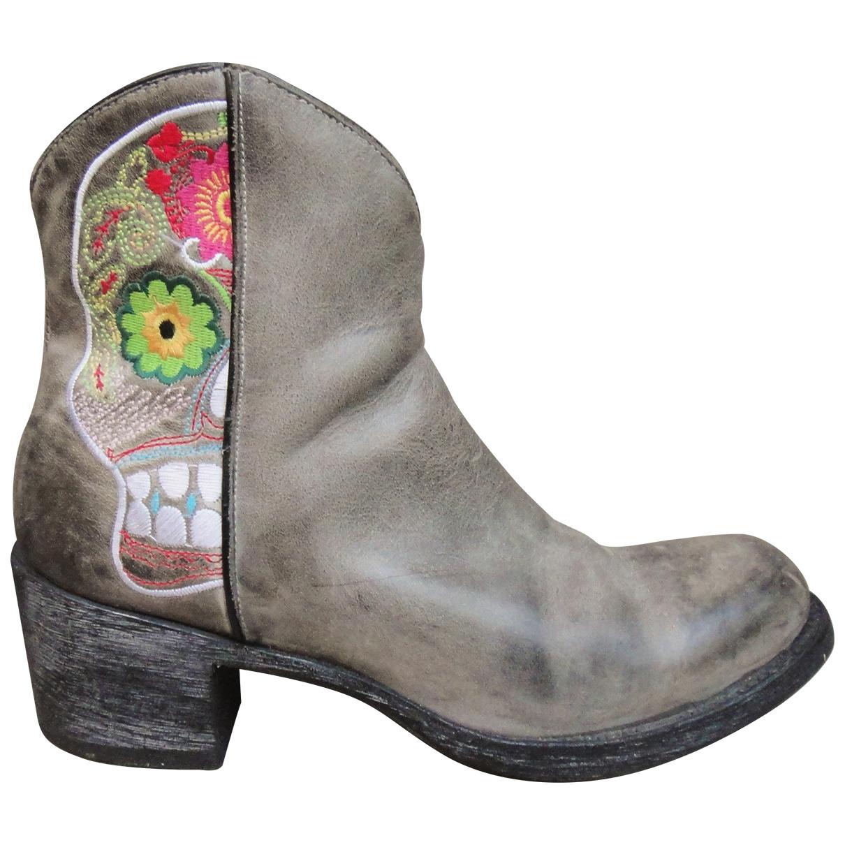 Mexicana - Boots   pour femme en cuir - gris