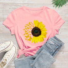 T-Shirt mit Sonnenblumen & Schmetterling Muster