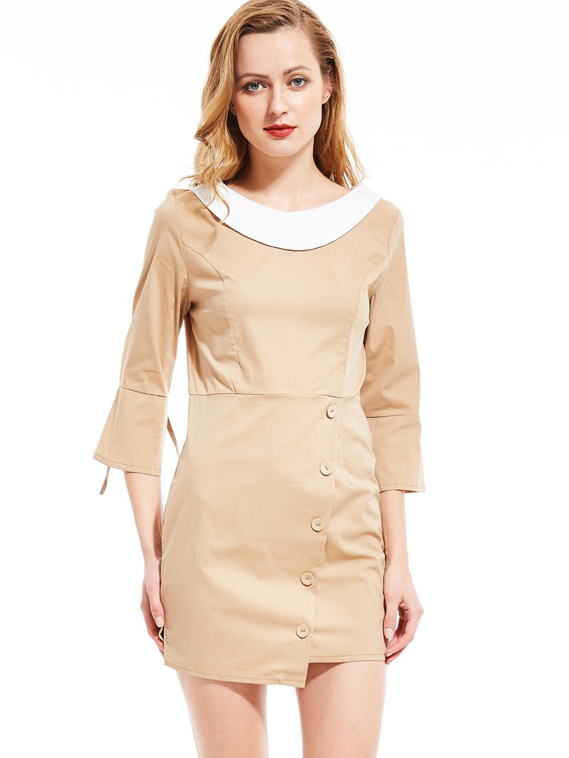 Ericdress Button Above Knee Three-Quarter Sleeve Flare Sleeve Plain Dress