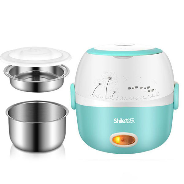 Stainless Steel Rice Cooker Portable Thermal Insulation Lunch Box Electric Heating Dinnerware Sets
