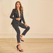Shawl Collar Striped Blazer & Pants Set