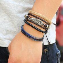 4pcs Guys Leaf Decor Bracelet