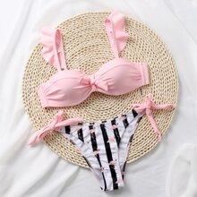 Striped & Flamingo Print Tie Side Bikini Swimsuit