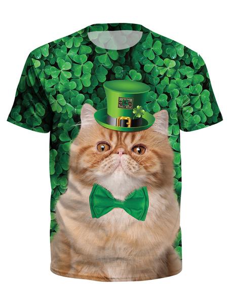 Milanoo St Patricks Day Green T Shir 3D Printed Cat Clover Unisex Irish Short Sleeve Top Halloween