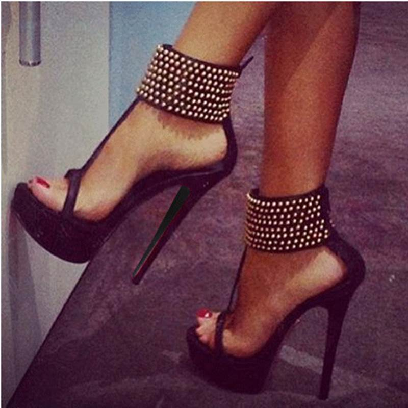 Fashionable Rhinestone Ankle Strap Stiletto Sandals