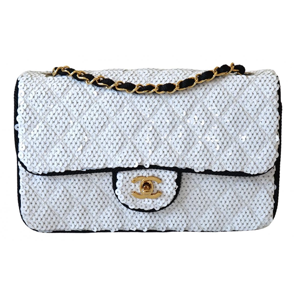Chanel - Sac a main Timeless/Classique pour femme en toile - blanc