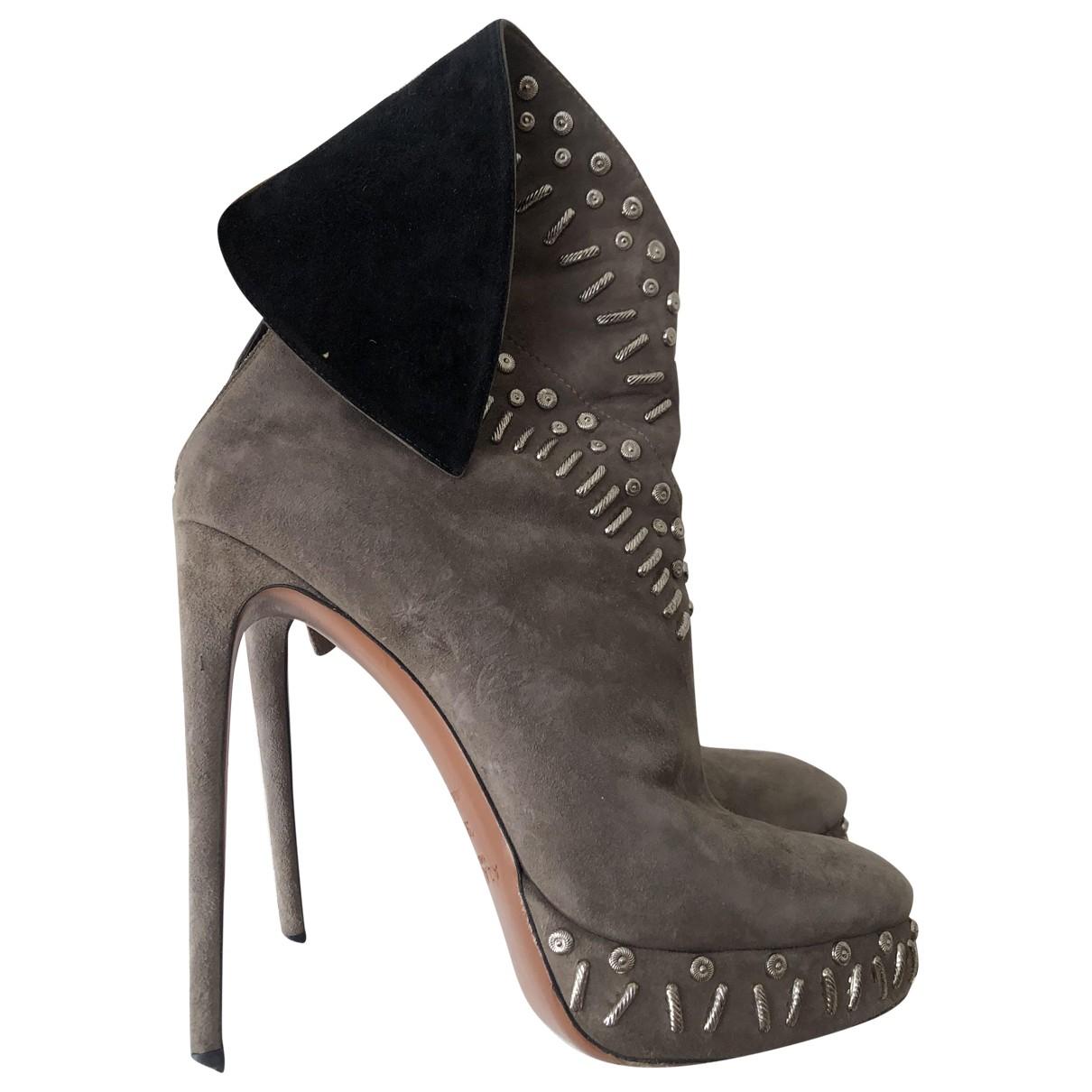 Alaïa \N Beige Suede Ankle boots for Women 39 EU