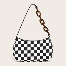Plaid Baguette Bag