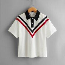 Camisa polo en contraste con cinta de cheuron de hombros caidos