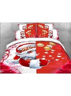 Santa Christmas Decorations 3D 4Pcs Red Zipper Bedding Warm Duvet Cover Set