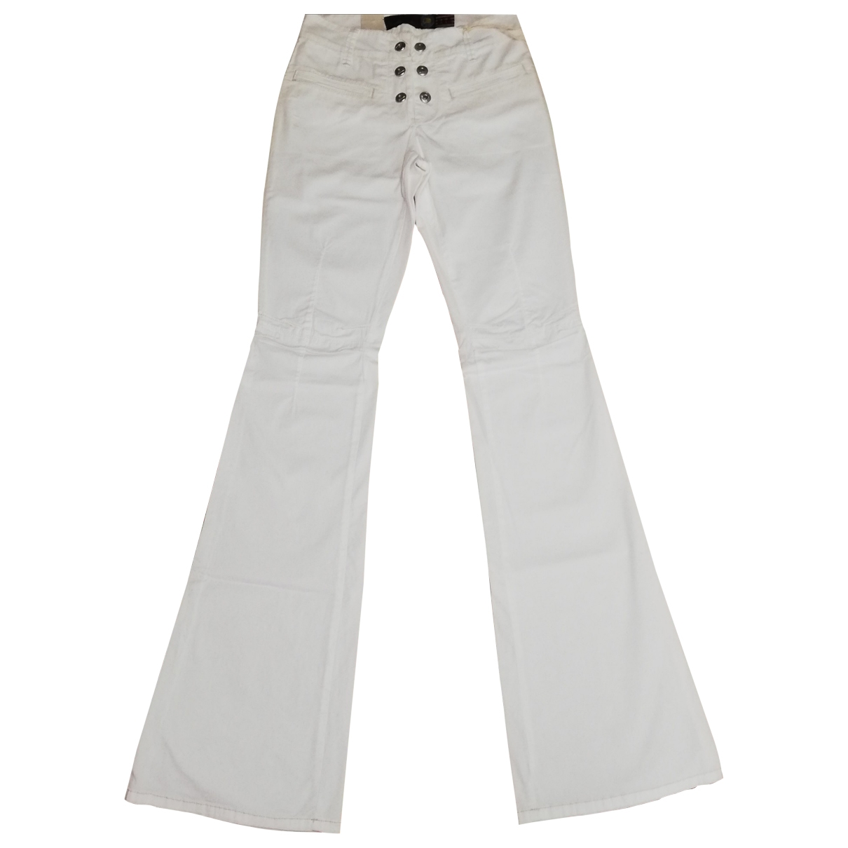 Roy Roger's \N White Cotton Trousers for Women 40 IT