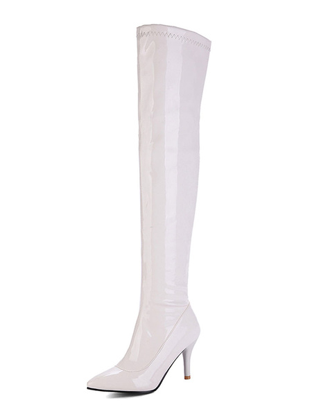 Milanoo Over The Knee Boots Womens Patent Leather Pointed Toe Stiletto Heel Boots
