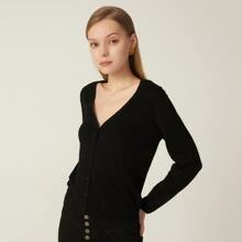 100% WOOL BUTTON FRONT CARDIGAN