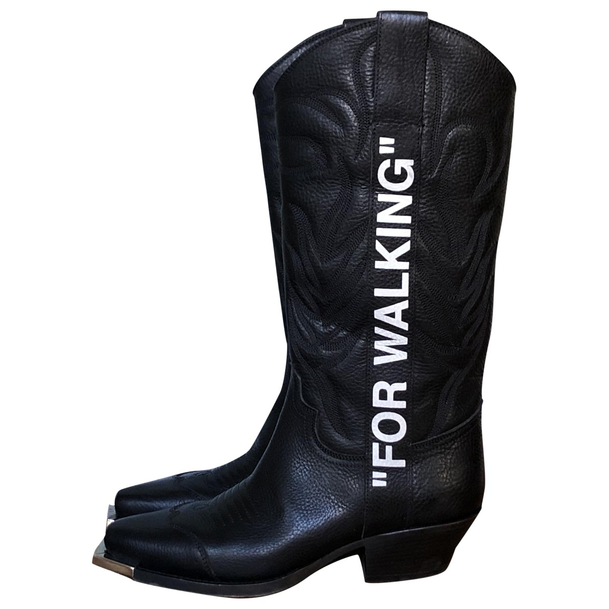 Off-white \N Black Leather Boots for Women 38 EU