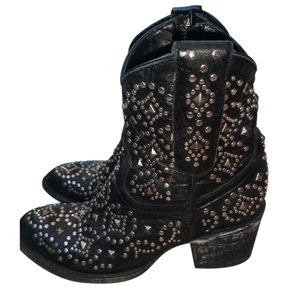 Mexicana \N Black Leather Ankle boots for Women 35.5 EU