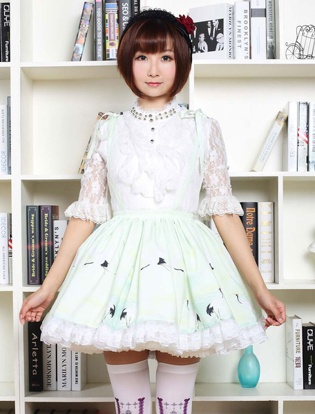 Milanoo Sweet Lolita Dress In Light Green Printed Qi Lolita Suspender Skirt With White Lace Trim