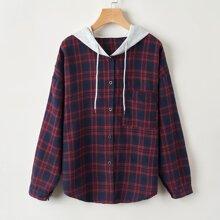Tartan Button Front Hooded Shirt