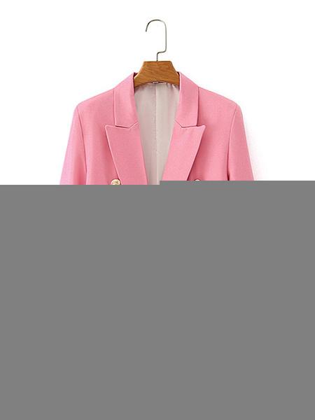 Milanoo Blazer para mujer, cuello vuelto, manga larga, cruzado, gran tamaño, blazers