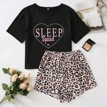 Letter Graphic Tee And Leopard Print Shorts PJ Set