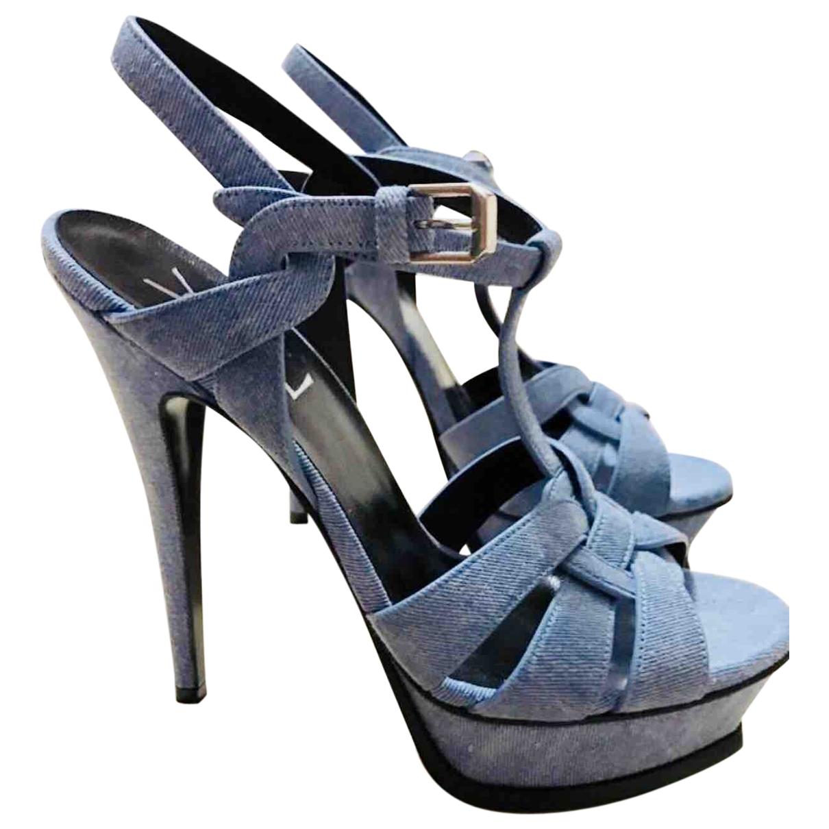 Saint Laurent Tribute Blue Cloth Sandals for Women 36.5 EU