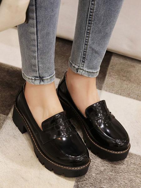 Milanoo Lolita Footwear Burgundy PU Leather Puppy Heel Lolita Pumps