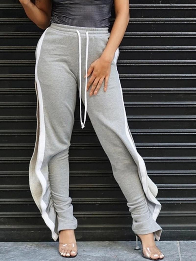 Ericdress Loose Split Color Block Full Length High Waist Casual Pants