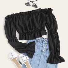 Schulterfreie Crop Bluse mit Schosschenaermeln