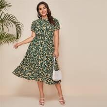 Plus Tie Neck Allover Floral A-line Dress