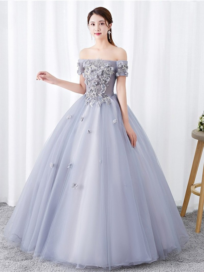 Ericdress Off-The-Shoulder 3D Flowers Ball Gown Quinceanera Dress