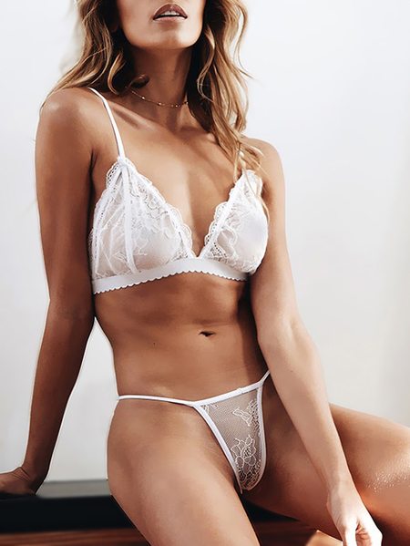 Yoins White Sexy Delicate Scalloped Lace Lingerie Set