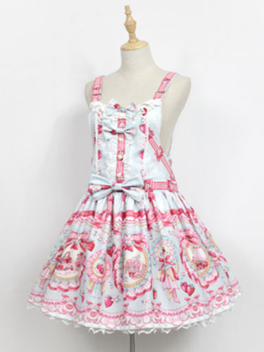 Milanoo Sweet Lolita JSK Jumer Skirt Neverland Square Neck Ruffles Bunny White Lolita Dress Original Design