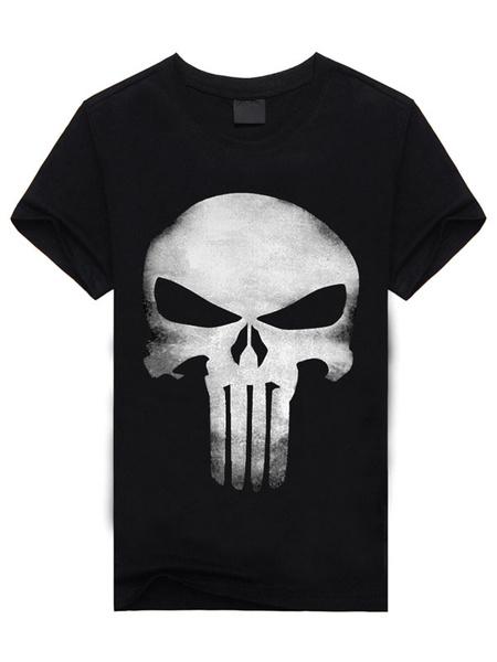 Milanoo Two-Tone T-Shirt Skull Print Cotton Casual T-Shirt for Men