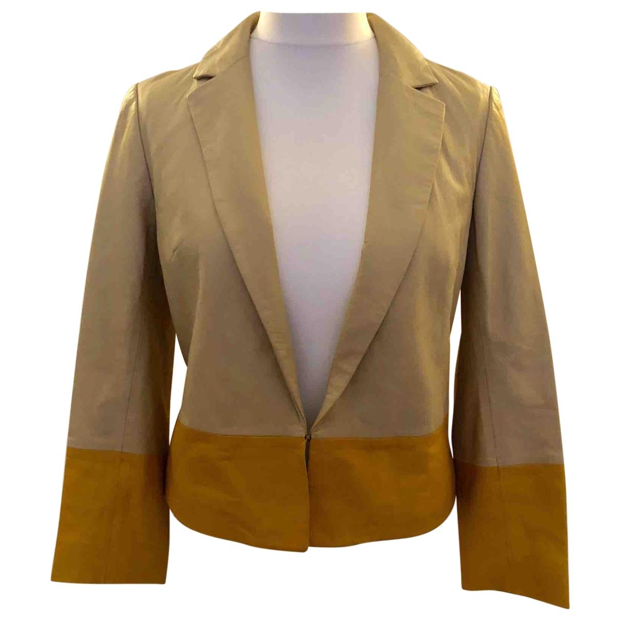 Tory Burch - Blouson   pour femme en cuir - beige