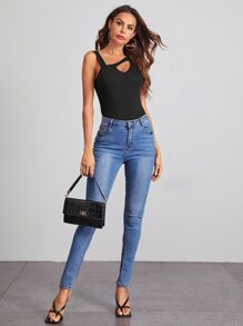 Cutout Detail Asymmetrical Neck Fitted Top