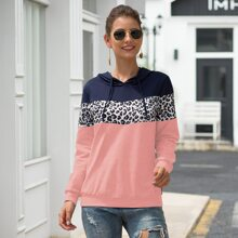 Contrast Panel Drawstring Hooded Sweatshirt