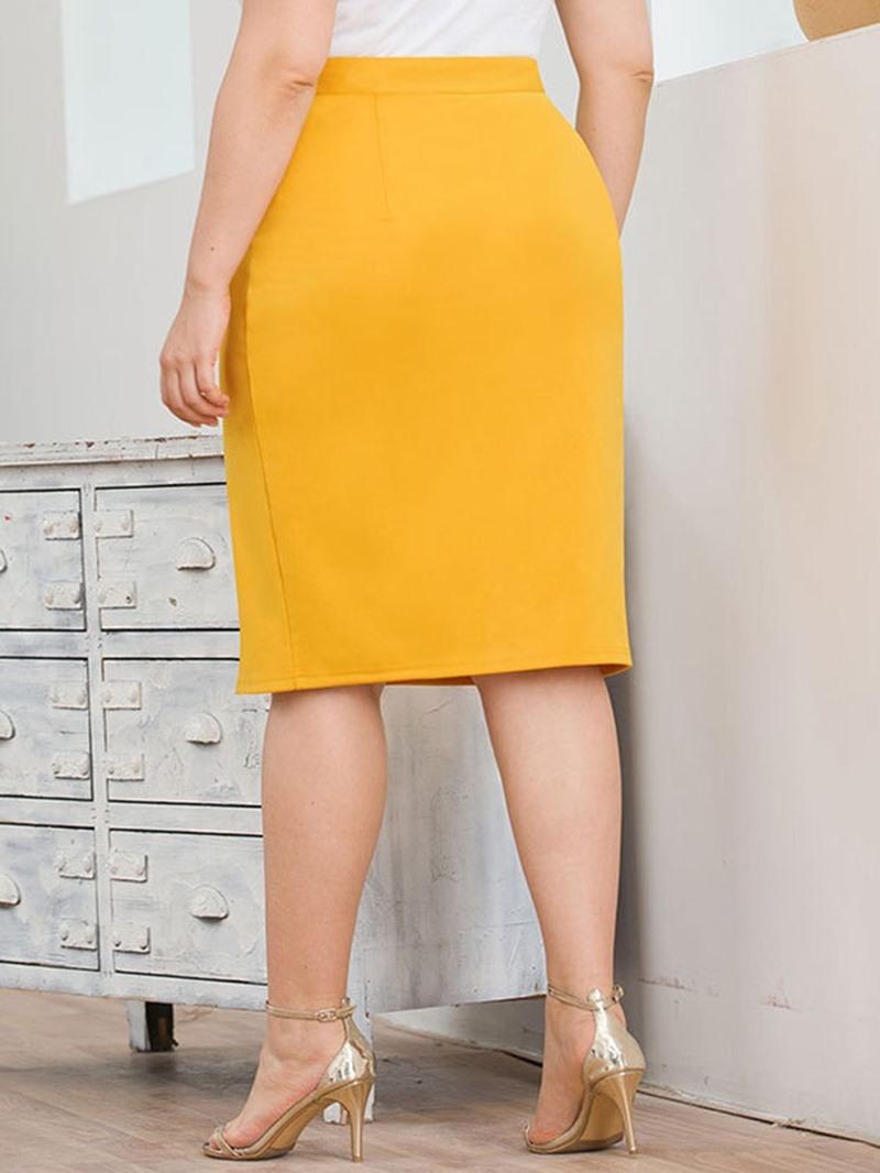 Ericdress Plus Size Knee-Length Split Plain High Waist Skirt