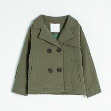 Einfarbiger Mantel mit doppelten Knopfleisten